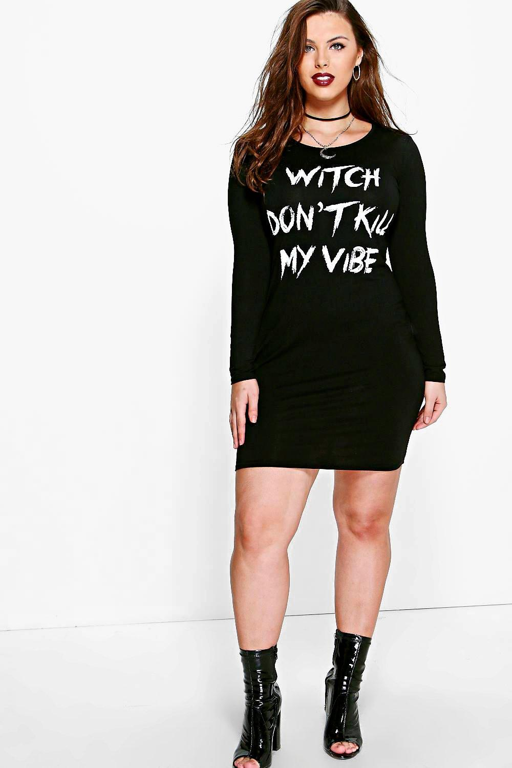 Plus Nat 'Witch Dont Kill My Vibe' Halloween Dress