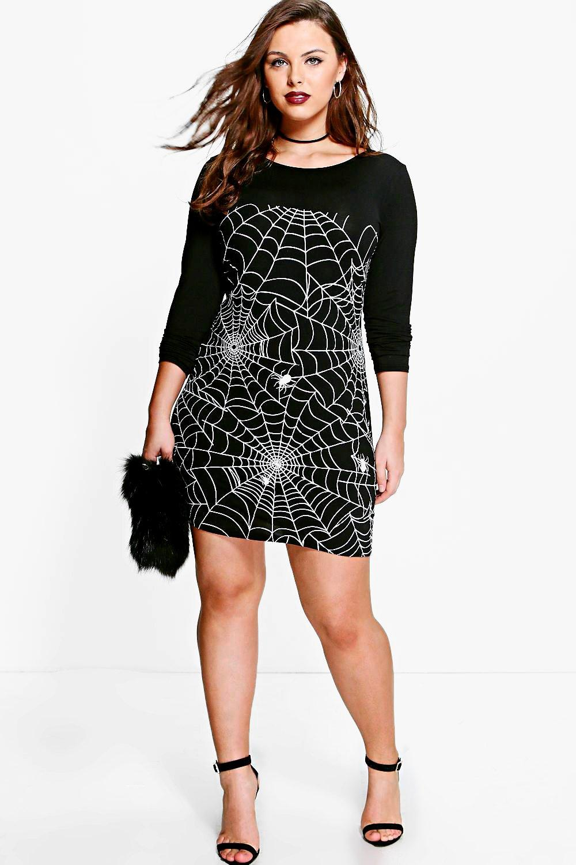 £5 Dresses Plus Louise Glow In The Dark Spider Halloween Dress