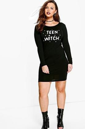 Plus Charl Teen Witch Halloween Bodycon Dress