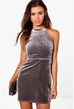 Petite Sia Velvet High Neck Mini Dress
