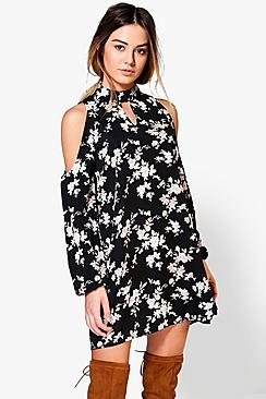 Petite Matilda Cold Shoulder Woven Shift Dress
