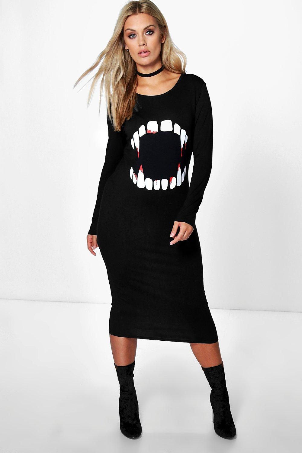 Plus Molly Halloween Vampire Teeth Midi Dress