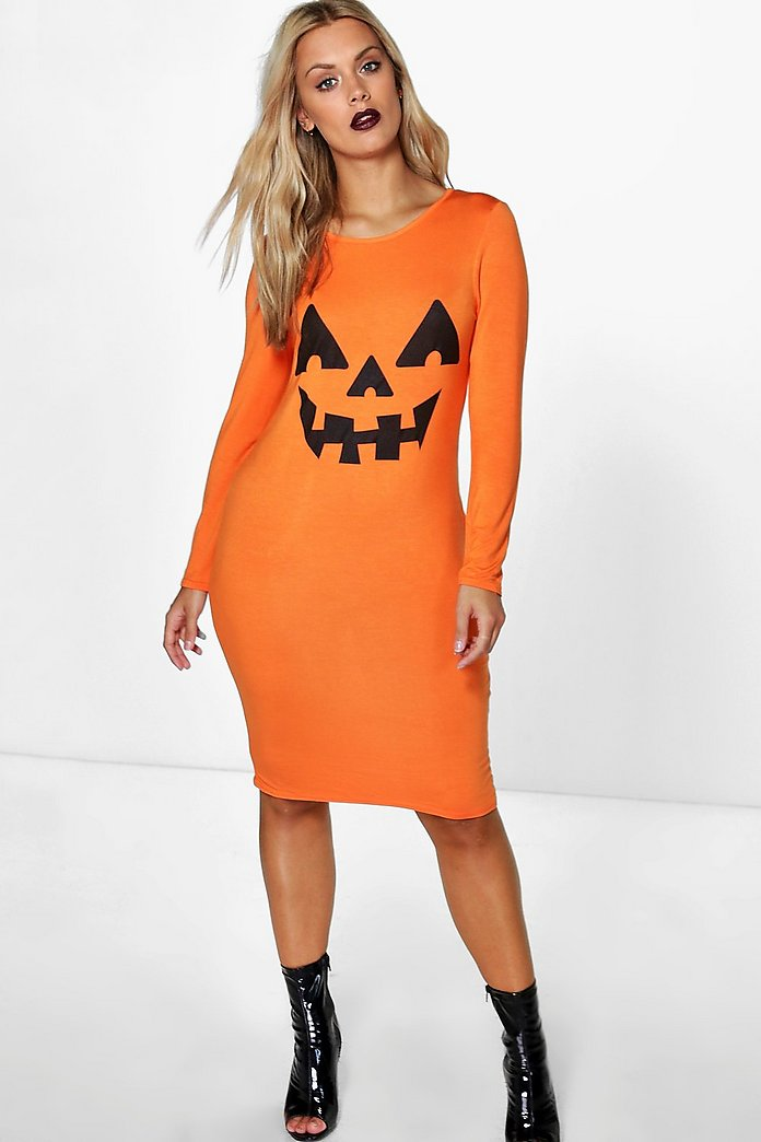 Plus Paige Halloween Pumpkin Bodycon Dress