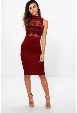Petite Viki Lace Top Turtle Neck Midi Dress