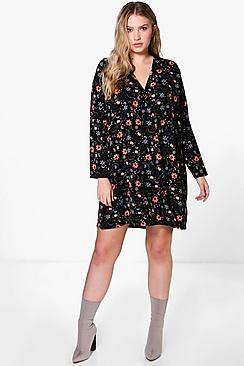 Plus Evie Wrap Front Shirt Dress