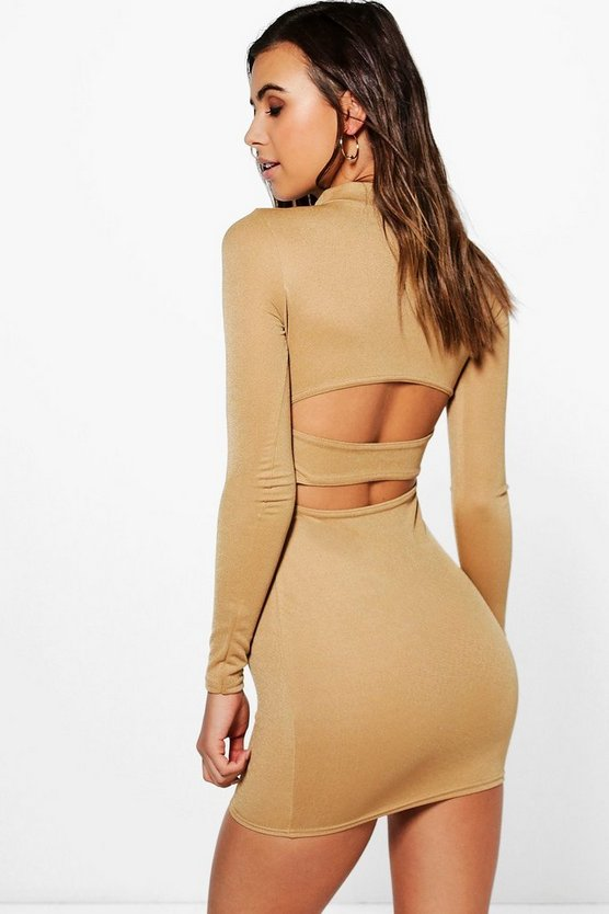 Petite Katy Long Sleeve Turtle Neck Backless Strap Dress