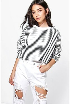 Petite Alex Stripe Cropped Sweatshirt