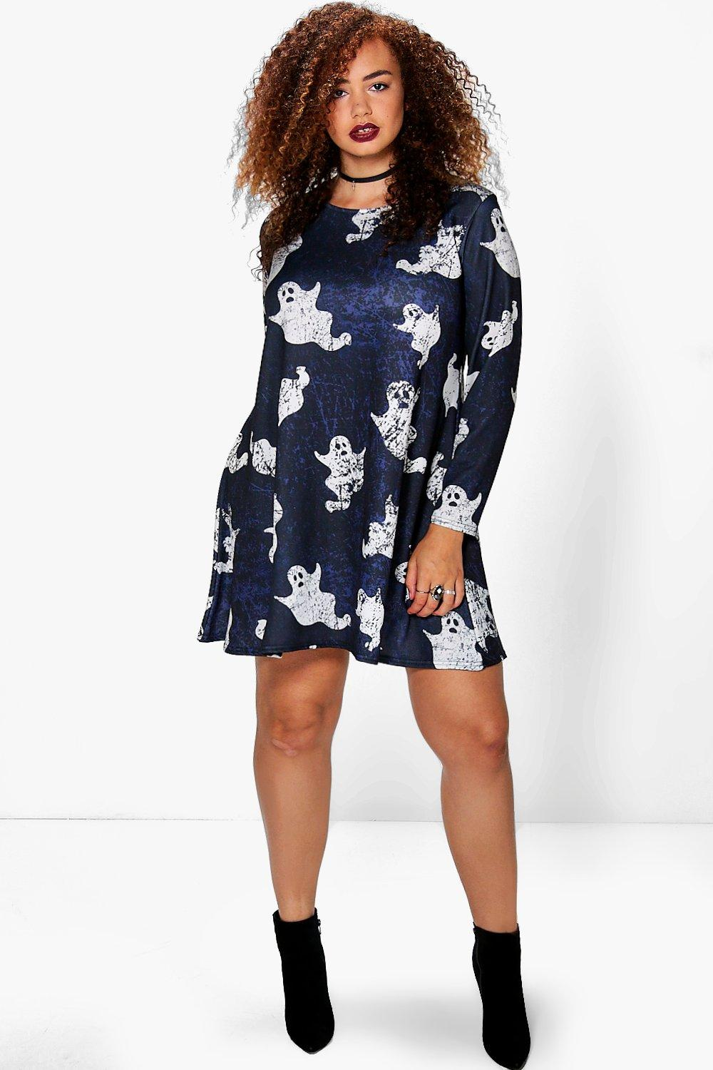 Plus Stacey Ghost Print Halloween Swing Dress