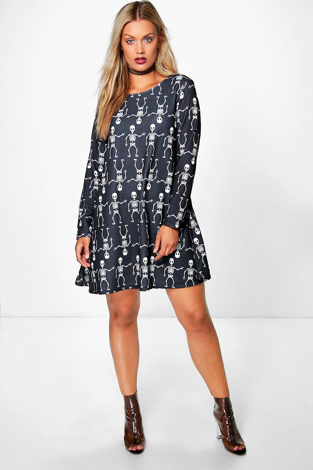 Plus Julia Skeleton Print Halloween Swing Dress