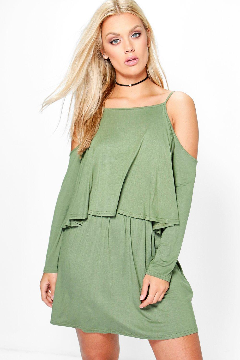 Plus Claire Cold Shoulder Ruffle Swing Dress