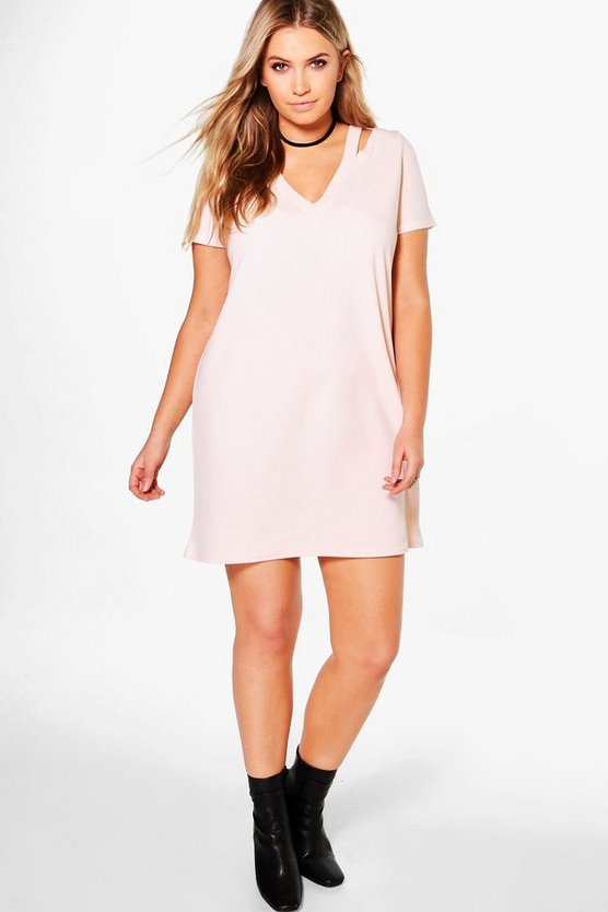 Plus Naomi Plunge Neck Strap Shift Dress