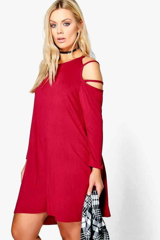 Plus Ann Open Shoulder Strappy Long Sleeve Dress