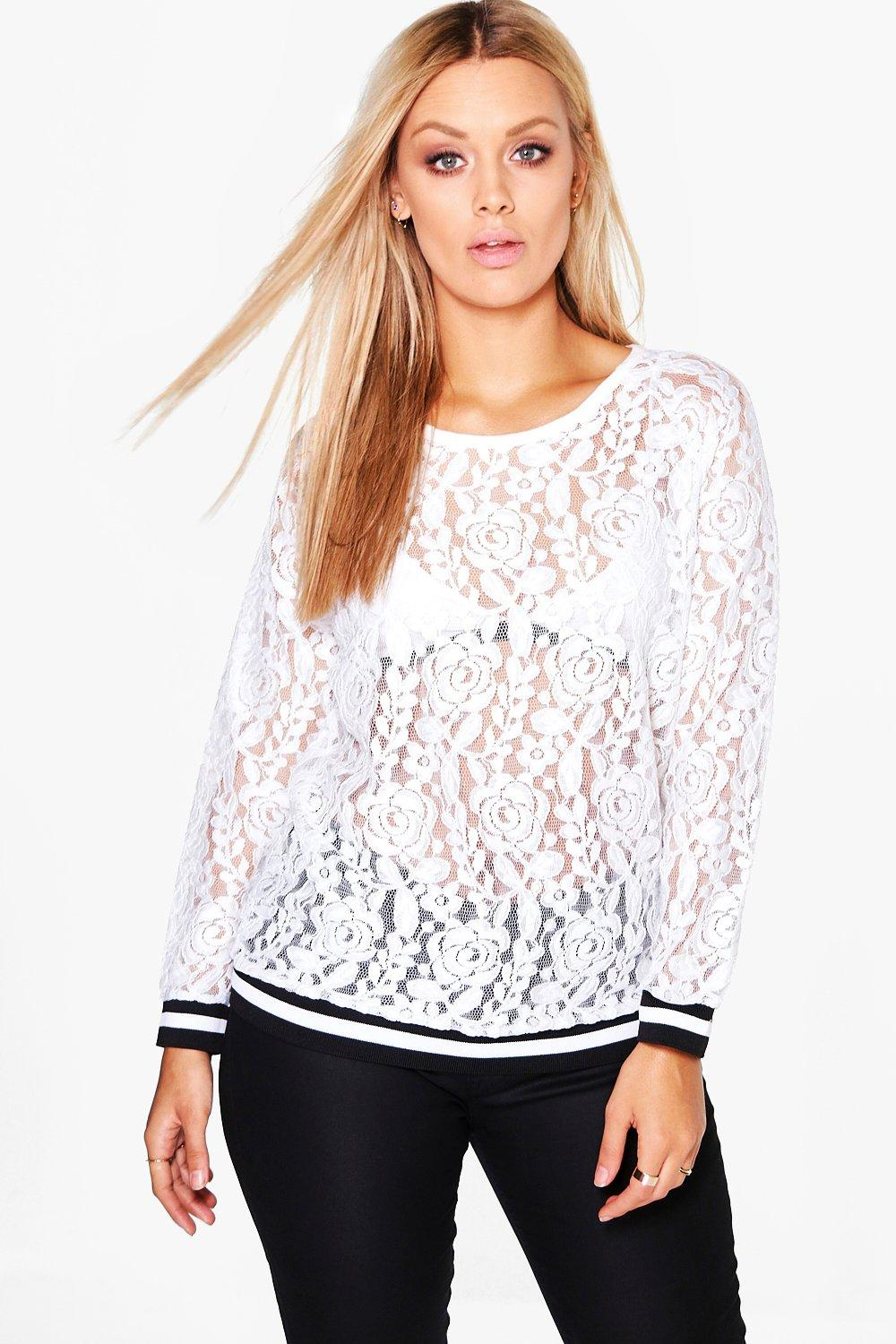 Plus Hailey Lace Sports Trim Top