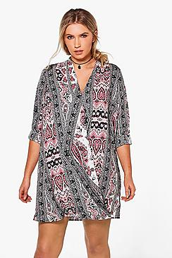 Plus Bella Monochrome Paisley Wrap Dress