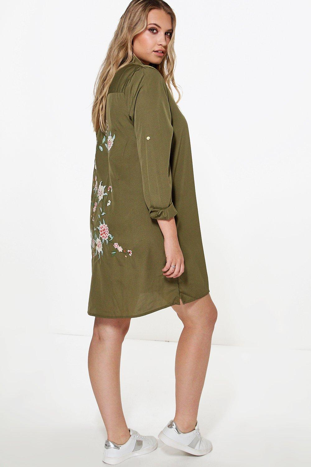 Ava Embroidered Back Shirt Dress  khaki
