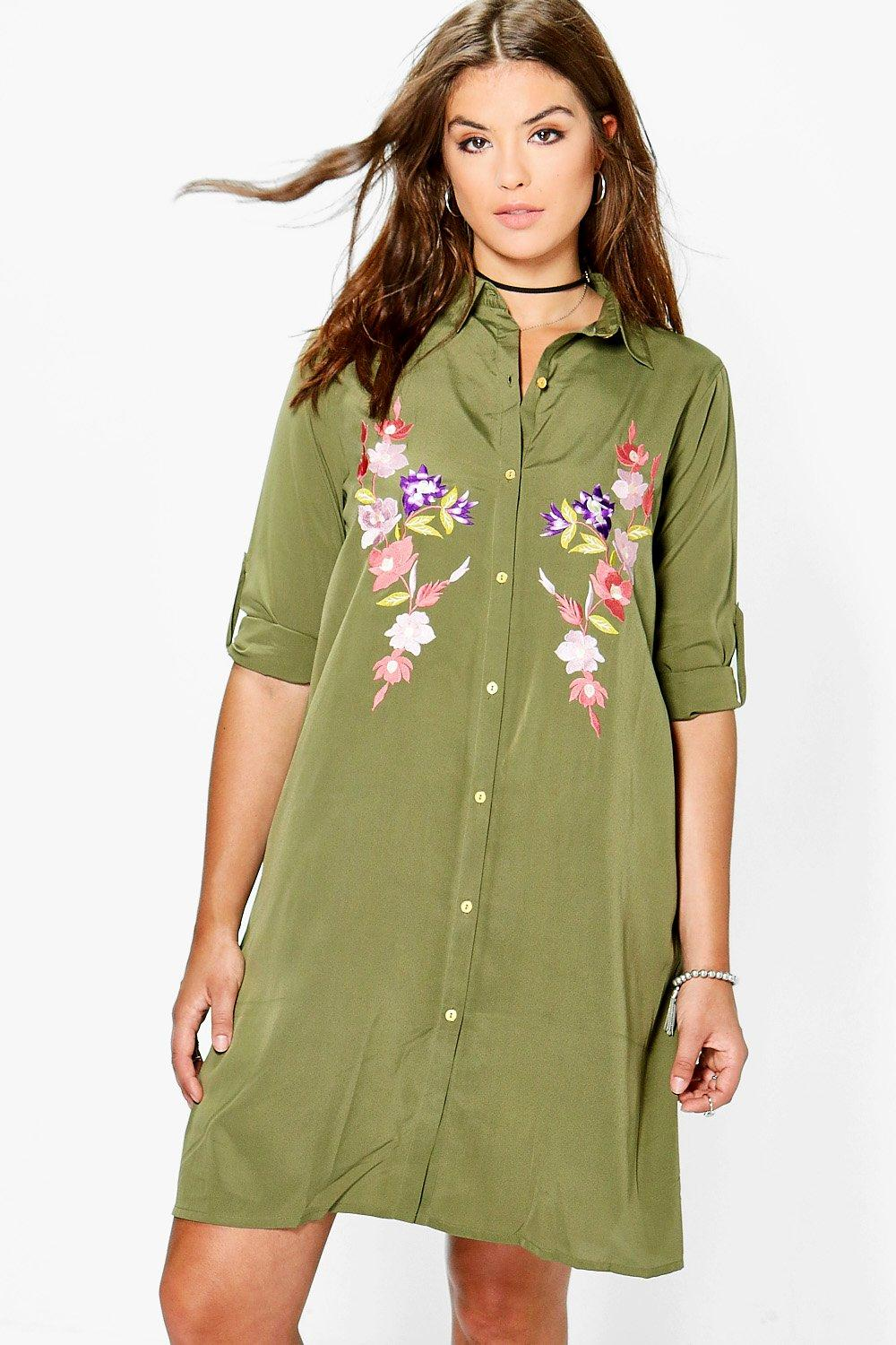 Lauren Embroidered Midi Shirt Dress  khaki