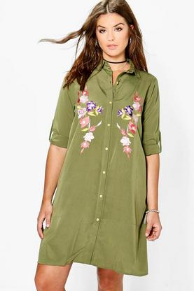 Plus Lauren Embroidered Midi Shirt Dress