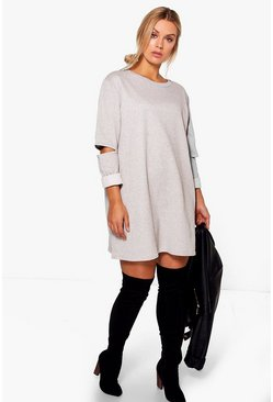 Plus Rhia Cut Out Sleeve Sweat Dress