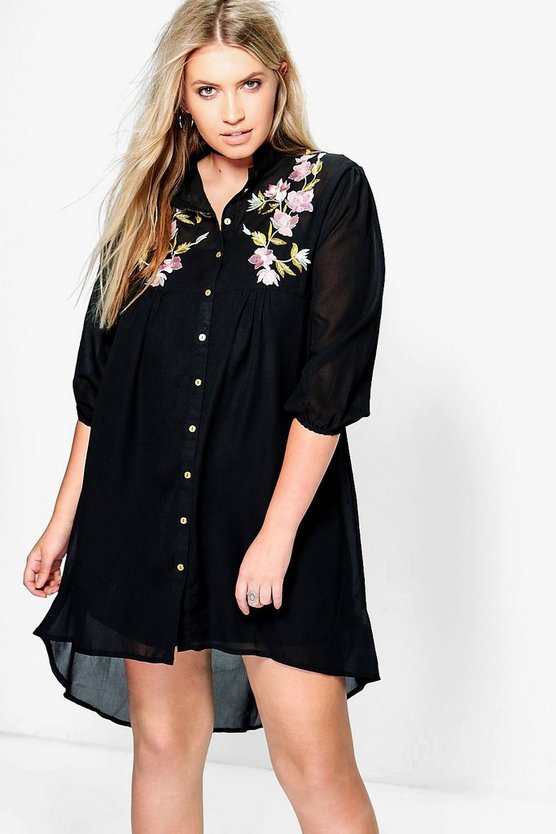 Plus Ann Embroidered Shirt Dress