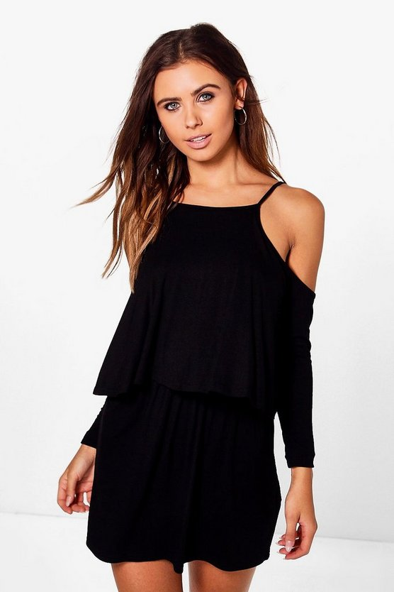 Petite Nina Cold Shoulder Frill Long Sleeve Dress