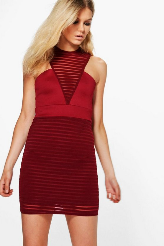 Petite Carly Burn Out High Neck Bodycon Dress