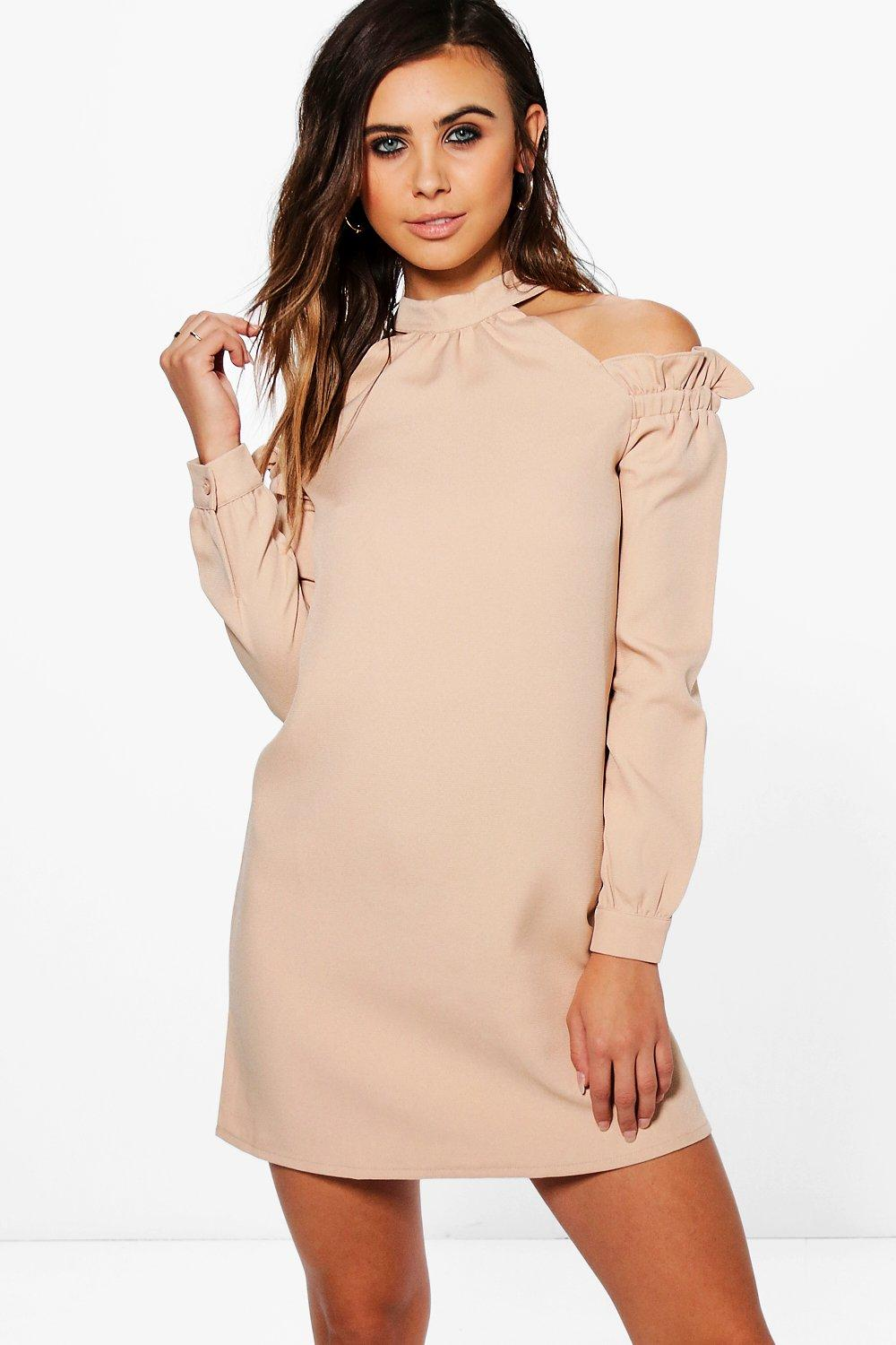 Petite Belle High Neck Ruffle Sleeve Shift Dress