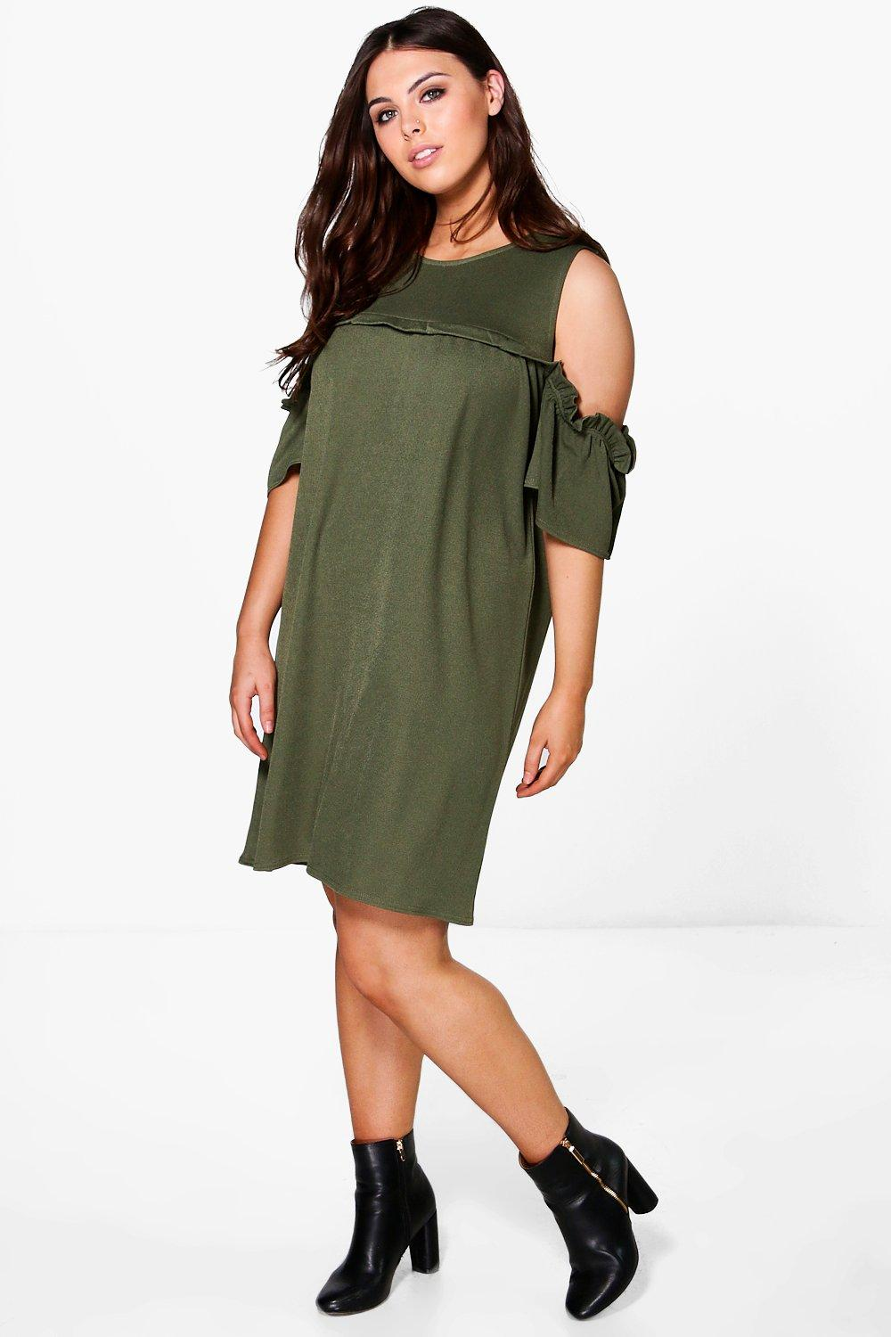 Plus Sadie Open Shoulder Ruffle Shift Dress
