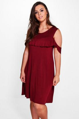 Plus Harlow Ruffle Open Shoulder Dress