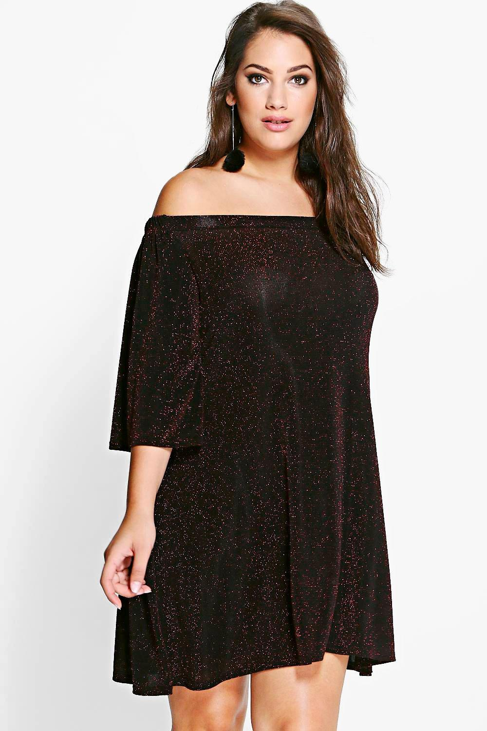Plus Lula Off Shoulder Shimmer Swing Dress