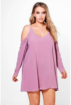 Plus Jenny Open Shoulder Slinky Dress