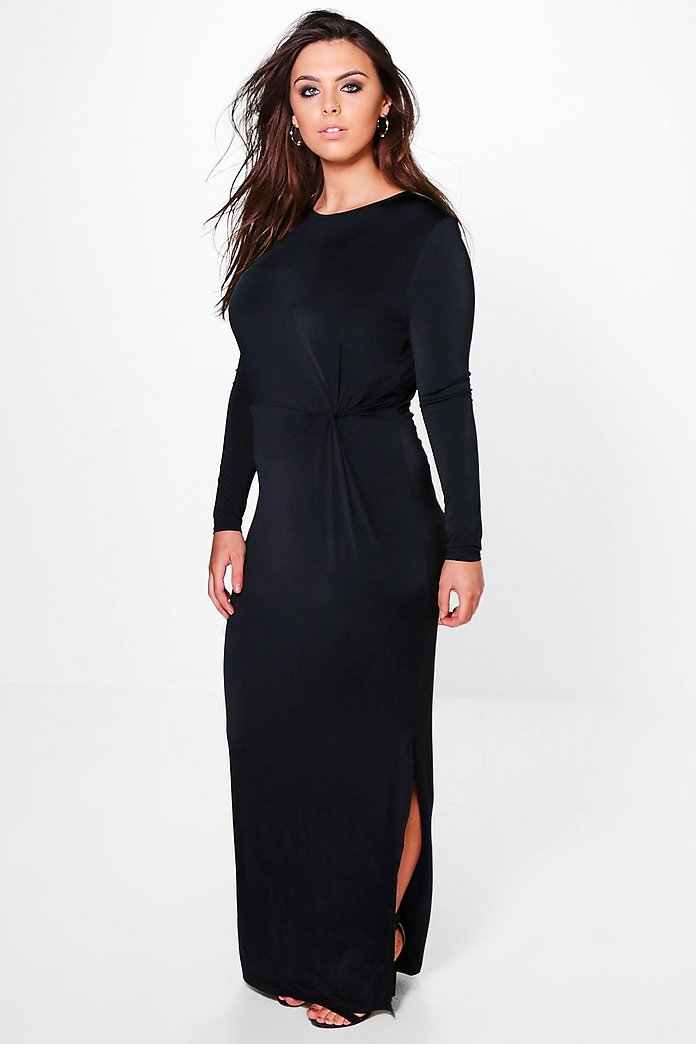 Plus Amber Slinky Knot Front Maxi Dress