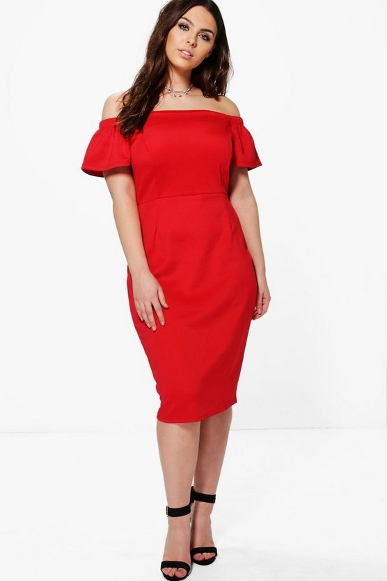 Plus Ashlee Off The Shoulder Midi Dress