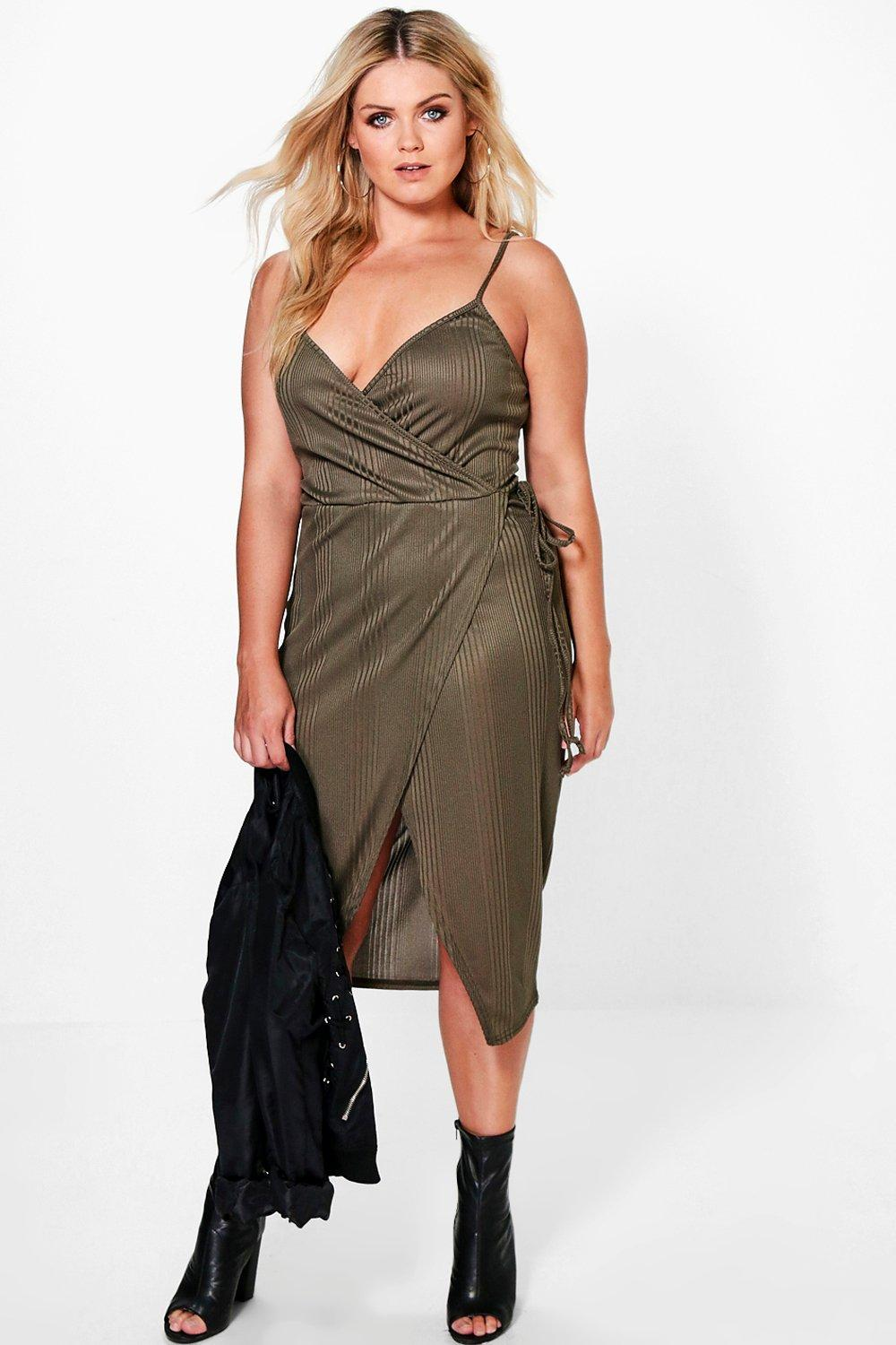 Plus Leah Ribbed Wrap Dress