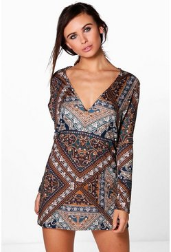 Petite Frankie Plunge Long Sleeve Shift Dress