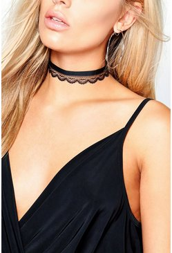 Plus Kerry Velvet + Lace Double Layer Choker