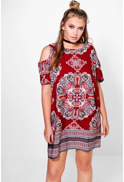 Plus Jess Cold Shoulder Shift Dress
