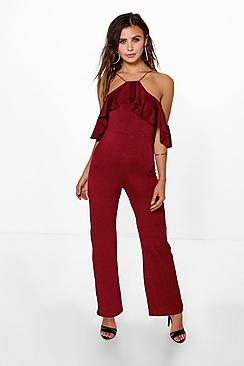 Petite Allie Drape Sleeve Wide Leg Slinky Jumpsuit