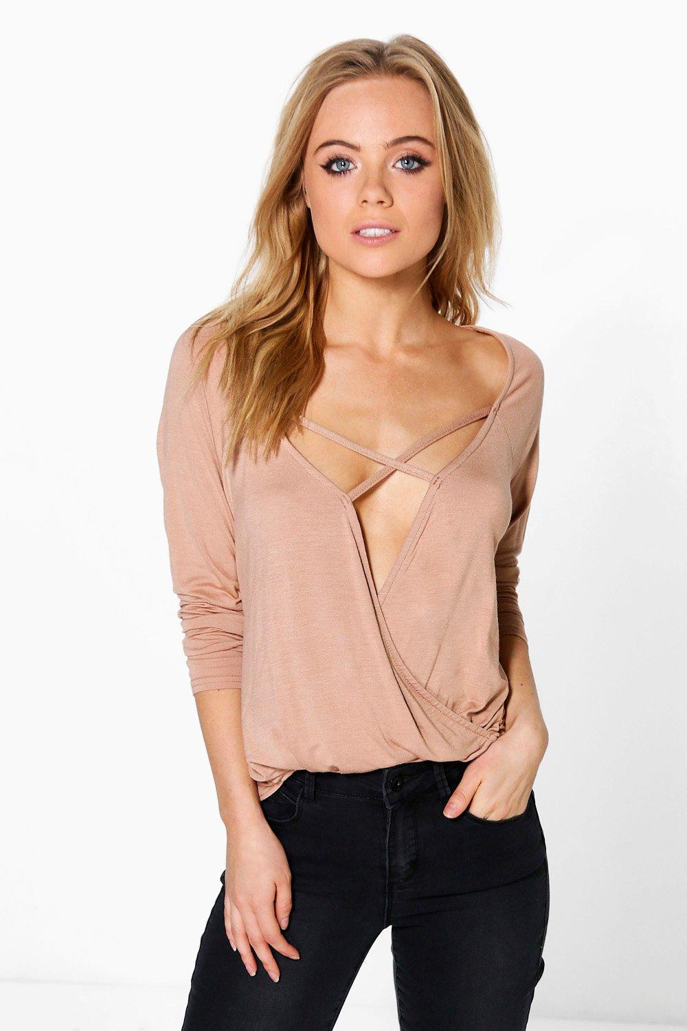 Petite Edie Wrap Front Strappy Long Sleeve Top