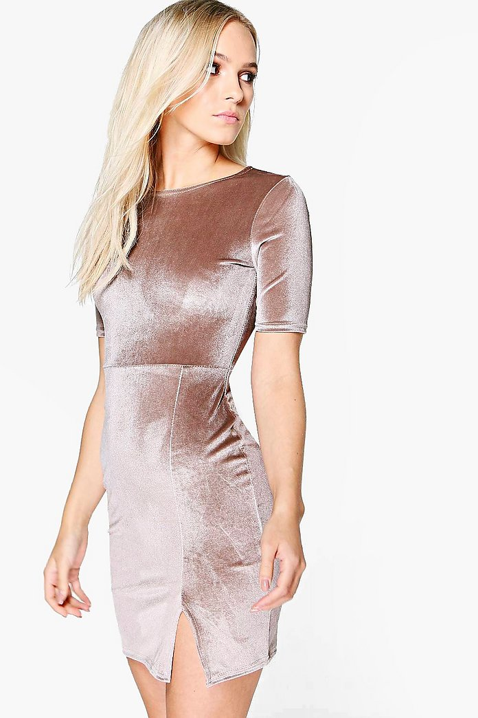 Petite Melanie Velvet Scoop Neck Bodycon Dress