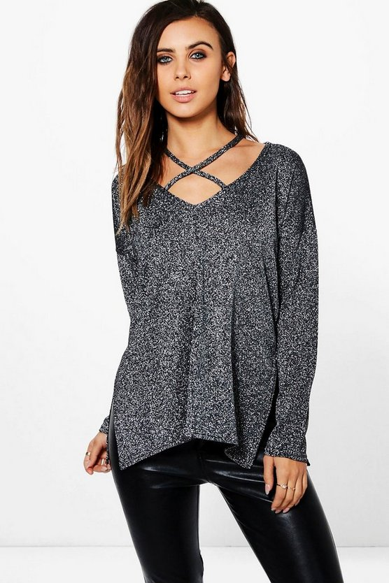 Petite Emily Glitter Knit Plunge Strappy Jumper