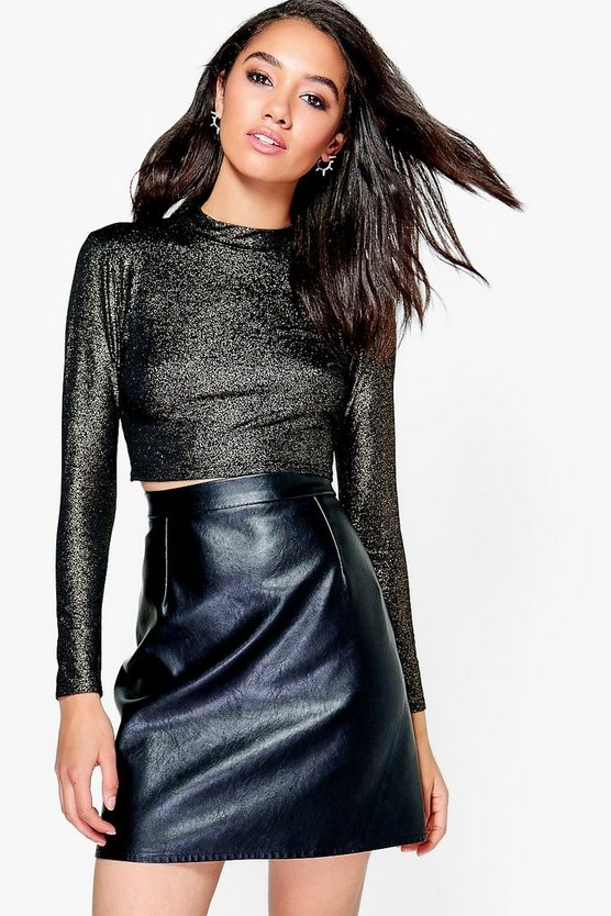 Petite Aimee Metallic Turtle Neck Crop Top