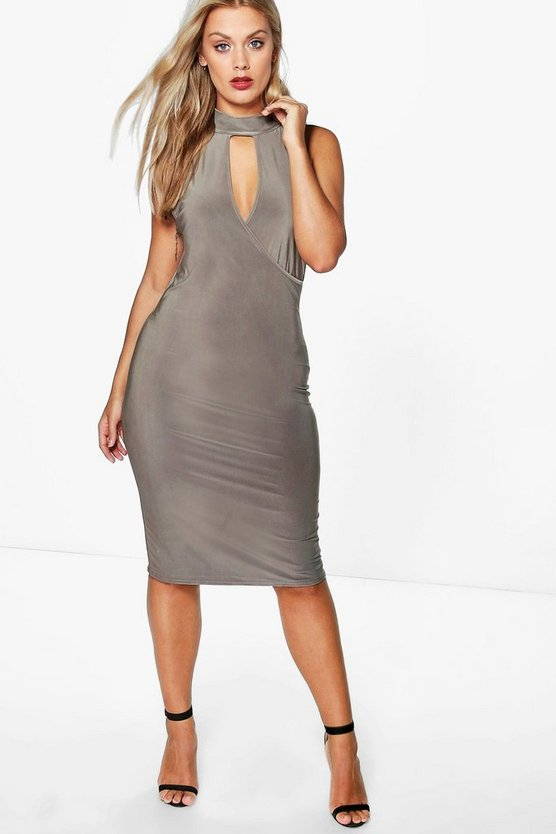 Plus Jenny Wrap Slinky Shirt Bodycon Dress