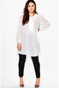 Plus Elena Sheer Bow Front Shirt