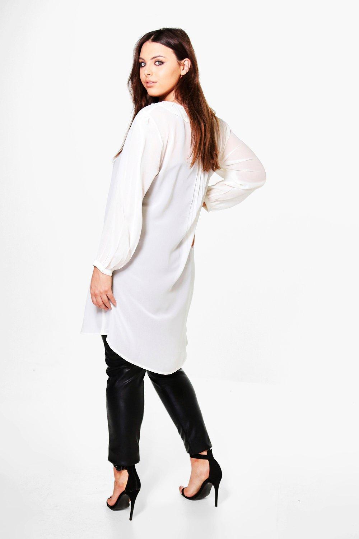 boohoo plus elena chemise transparente n ud devant pour femme. Black Bedroom Furniture Sets. Home Design Ideas