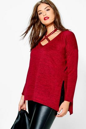 Plus Niamh Studded Cut Out Jumper