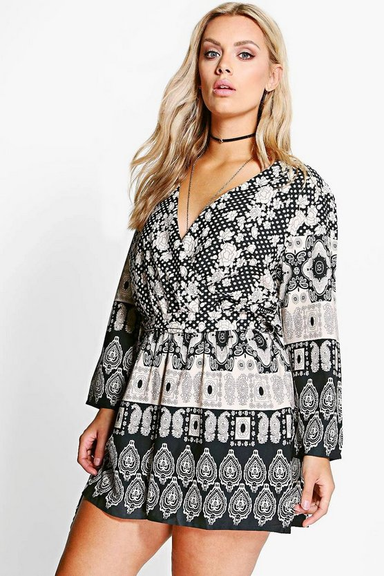 Plus Casey Ethnic Printed Playsuit