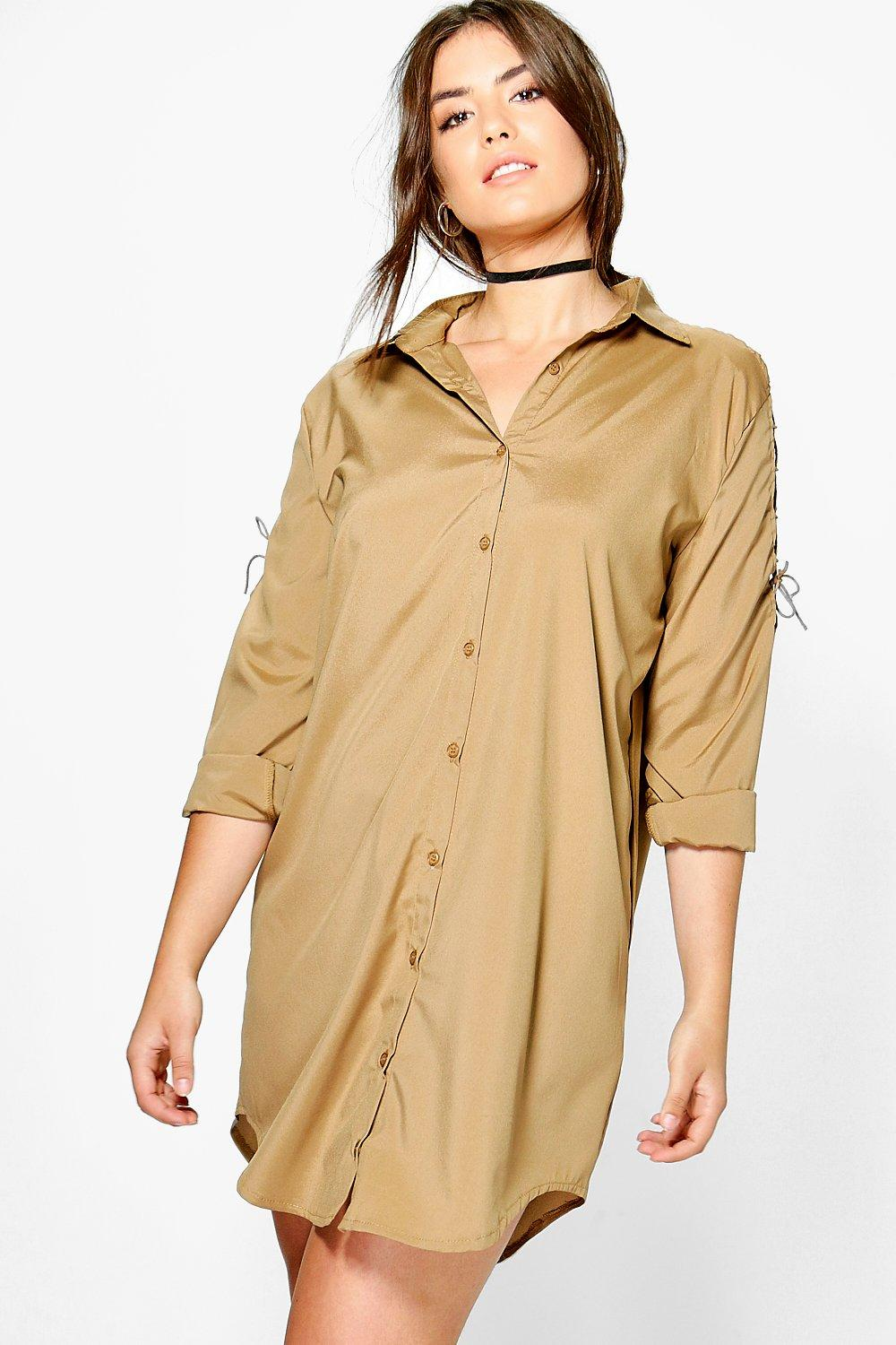 Lydia Lace Up Shoulder Shirt Dress  khaki