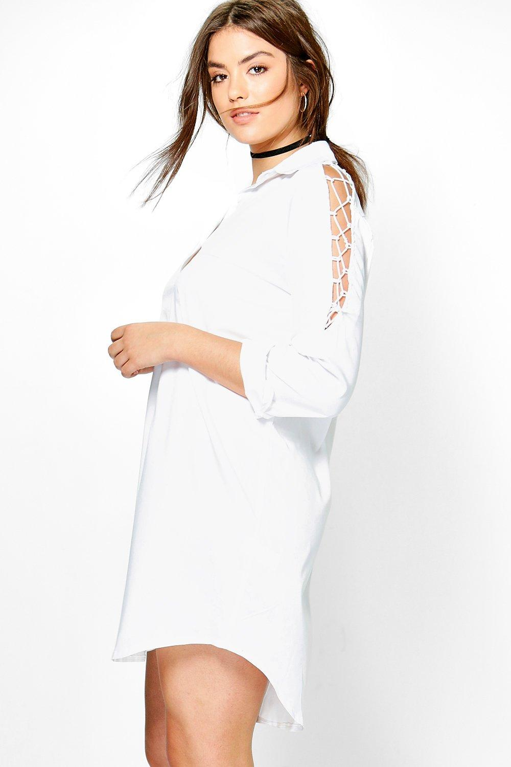 Plus Lydia Lace Up Shoulder Shirt Dress