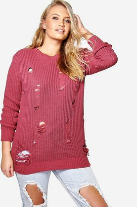 Plus Rosa Distressed Knitted Jumper