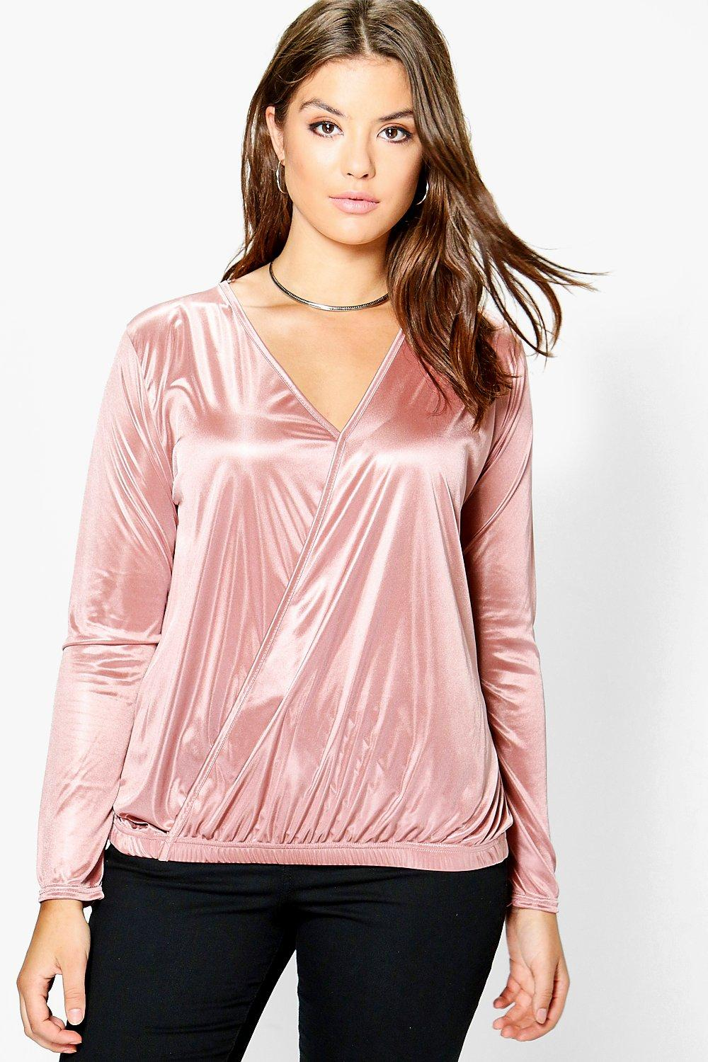 Plus Linda Wrap Front Silky Top